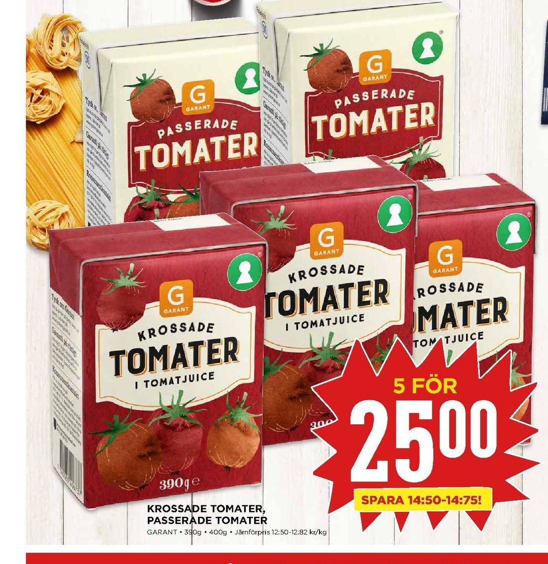 Erbjudanden och prisjämförelser på garant krossade/passerade, tomater 0,390 kg. 5 (pk) 25,00 12.82/kg.