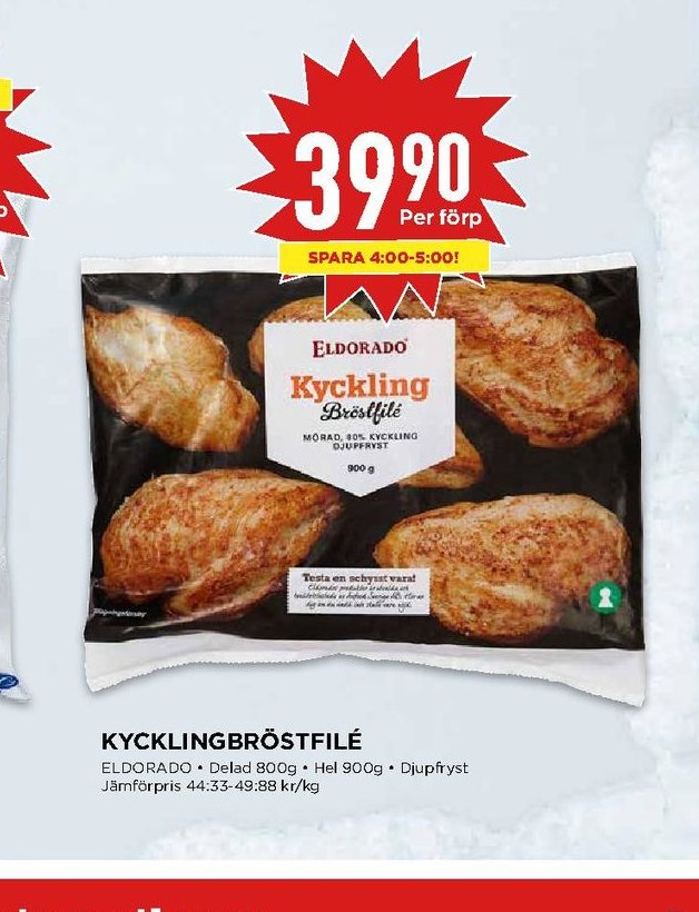 Erbjudanden och prisjämförelser på eldorado, kycklingbröstfilé 0,800 kg. 1 (pk) 39,90 49.88/kg.